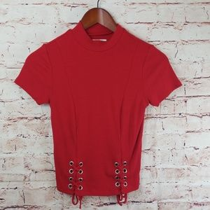 Red mockneck fitted style shirt XS